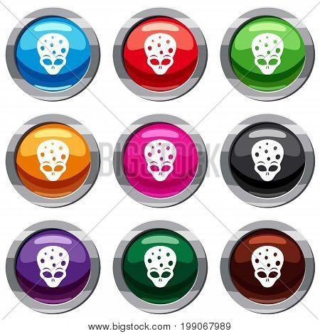 Extraterrestrial alien head set icon isolated on white. 9 icon collection vector illustration