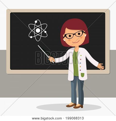 Young female teacher on science lesson at blackboard in classroom. Teacher with pointer teacher showing on board. Vector illustration
