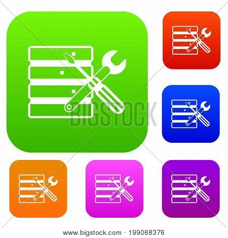 Database with screwdriverl and spanner set icon in different colors isolated vector illustration. Premium collection