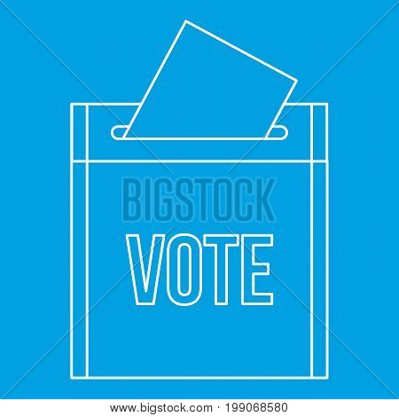 Vote box icon blue outline style isolated vector illustration. Thin line sign