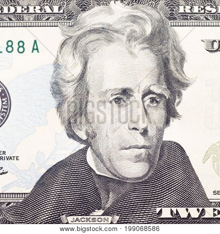 Andrew Jackson portrait on dollar bill closeu
