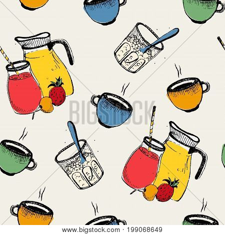 Breakfast seamless pattern. Cold, hot drinks with fruits and curd. Colorful vector illustration on white background