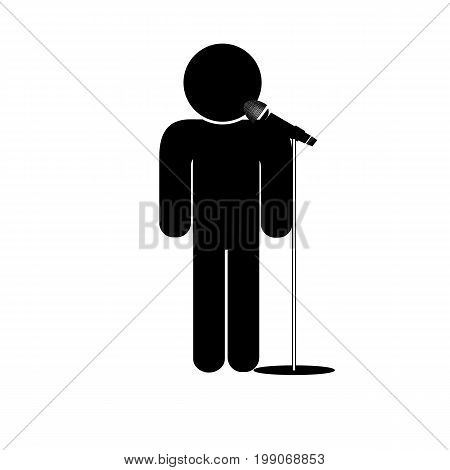 stick man say into microphone vector icon speaker