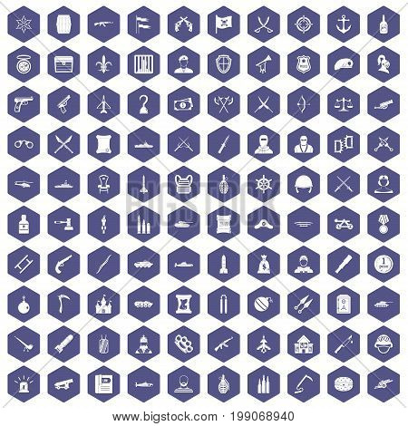 100 weapons icons set in purple hexagon isolated vector illustration