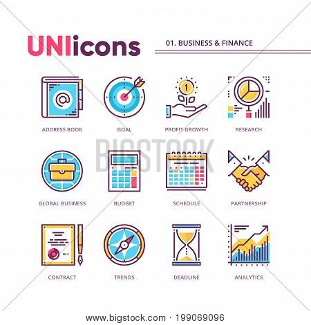 Modern thin line icons collection of business and finance. High quality outline pictogram set based on 64x64 pixels grid. Global colors. Vector pack for web graphics or print.