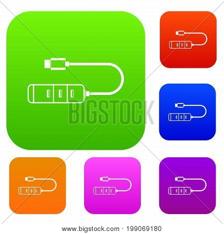 USB adapter connectors set icon in different colors isolated vector illustration. Premium collection