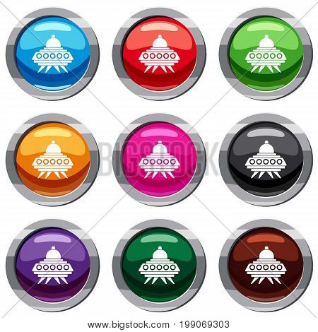 Alien spaceship set icon isolated on white. 9 icon collection vector illustration