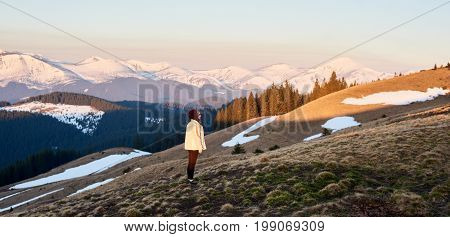 Shot Of A Young Woman Admiring The View Of Mountains While Hiking Copyspace Travel Travelling Touris