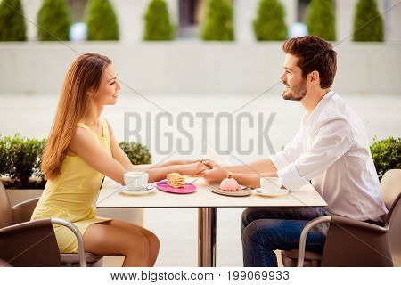 Love You Sweetie! Side Profile Photo Of Pretty Lovers On A Honey Moon, Having Brunch Outdoors On Nic
