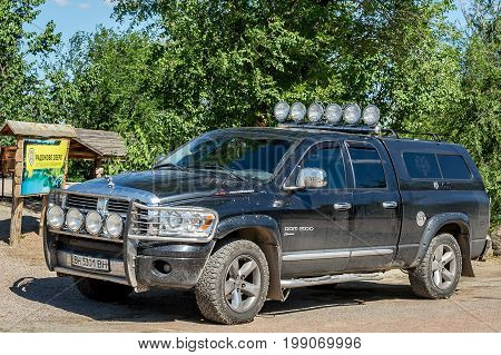 Ukraine Migea - July 30 2017: American Off-road vehicle pickup truck Dodge Ram 1500 5.7 L Performance in the parking lot