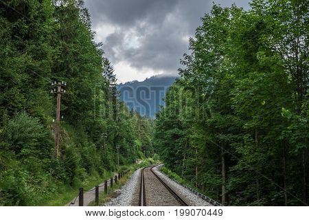 The railroad in a forest Germany .