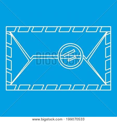 Envelope with postage stamp icon blue outline style isolated vector illustration. Thin line sign