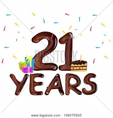 21st anniversary celebration design, with gift box. Vector illustration