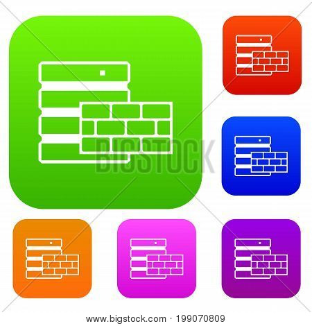 Database and brick wall set icon in different colors isolated vector illustration. Premium collection