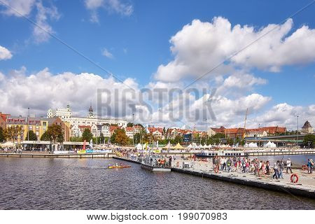 Szczecin, Poland – August 06, 2017: Visitors Cross Oder River With Military Floating Bridge During F