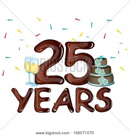 25th Years Anniversary Celebration card. Vector illustration