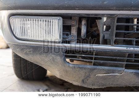 Fog Lamp On An Old Bumper