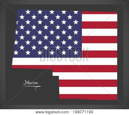 Marion County Map Of Alabama Usa With American National Flag Illustration