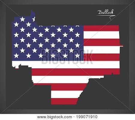 Bullock County Map Of Alabama Usa With American National Flag Illustration