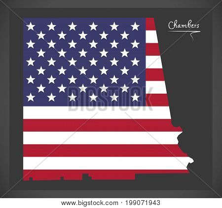Chambers County Map Of Alabama Usa With American National Flag Illustration