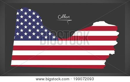 Colbert County Map Of Alabama Usa With American National Flag Illustration