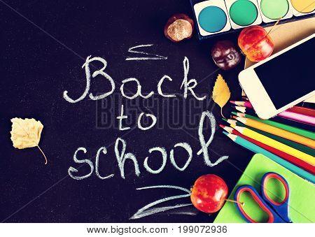 Black Chalkboard And School Belongings, Office