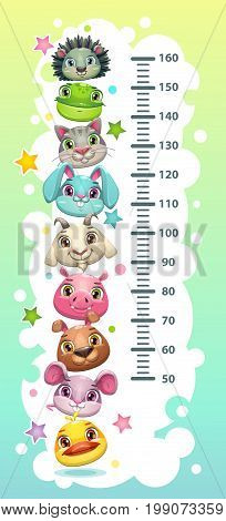 Kids height chart template with funny cartoon round animals. Vector illustration.