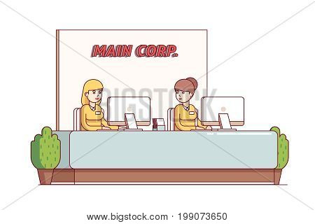 Two receptionist, secretary woman working at reception front desk with desktop pc. Corporation office hall furniture decoration. Flat style thin line vector illustration isolated on white background.