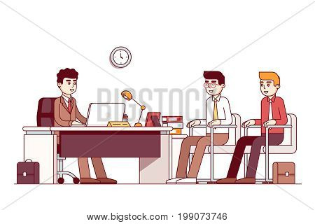 New employees and boss sitting in office room with three chairs, desk. CEO or HR officer and two candidates job interview. Business meeting. Flat style thin line vector illustration isolated on white.