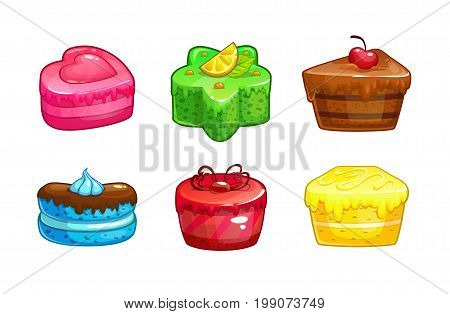 Cartoon colorful sweet cakes set. Vector dessert icons on white background.