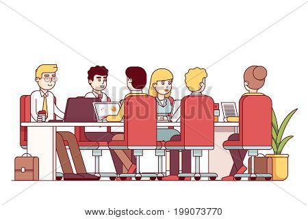 Teamwork, brainstorm cooperation. Business man team sitting at big table office boardroom, working on laptops. Conference hall meeting room with desk, chairs. Flat style thin line vector illustration.