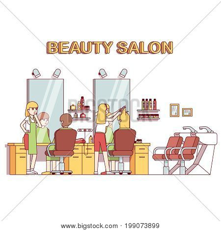 Hairdresser stylist making client girl hairstyle or haircut. Woman hairdressing beauty salon interior design with chairs, mirrors, desks, backwash sinks. Flat style thin line vector illustration.
