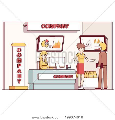Business product show exhibition stand. Working presentation managers consulting client. Company promotion booth reception stand counter desk, advertising screens. Flat thin line vector illustration.