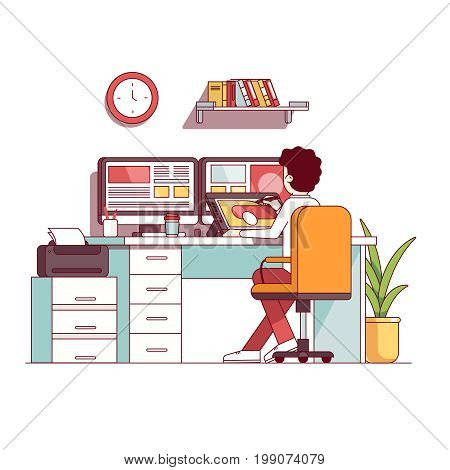 Digital artist workplace. Illustrator and graphic designer man drawing illustration sketch on tablet screen. Office room, desktop computer, chair. Flat thin line vector illustration isolated on white.