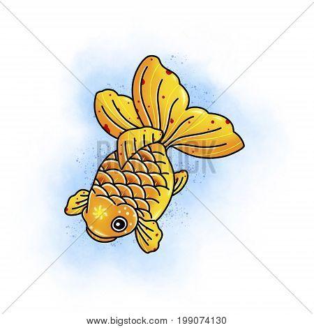Carp koi fish. Tattoo design. Cartoon illustration, hand drawn style.