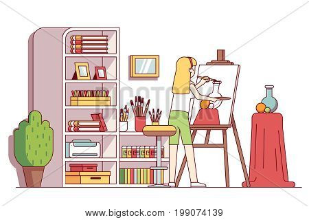 Art painter artist woman craftsman drawing still-life painting after finishing sketch in workshop studio room with canvas, easel, paints, brushes. Flat thin line vector illustration isolated on white.