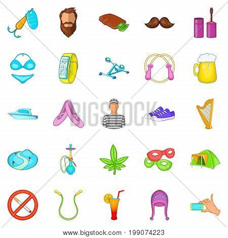 Active life icons set. Cartoon set of 25 active life vector icons for web isolated on white background