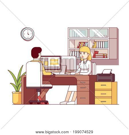 Business man and woman accountants working together sharing combined desk. Office room interior with desktop pc, chairs, book case shelves. Workplace furniture. Flat thin line vector illustration.