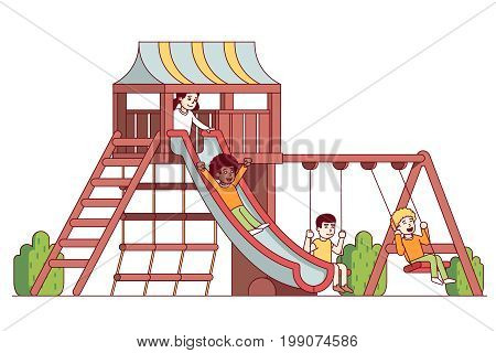 Boys and girls kids playing outside on school playground together riding wooden slide, swings, rope ladder and stairs. Children swinging and sliding in public park. Flat thin line vector illustration.