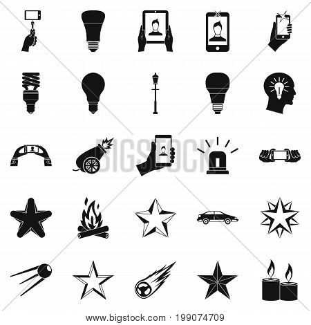 Flicker icons set. Simple set of 25 flicker vector icons for web isolated on white background