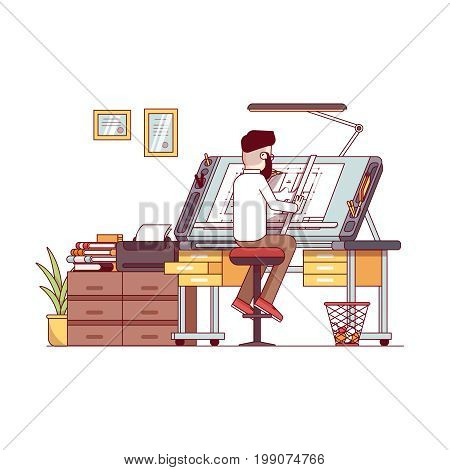 Man architect drawing house project floor plan at draftsman studio with adjustable drawing board desk. Engineer office room workshop . Flat thin line vector illustration isolated on white background.