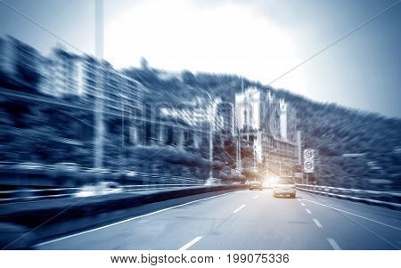 Metropolitan expressway motion blur of the screen Chongqing China.