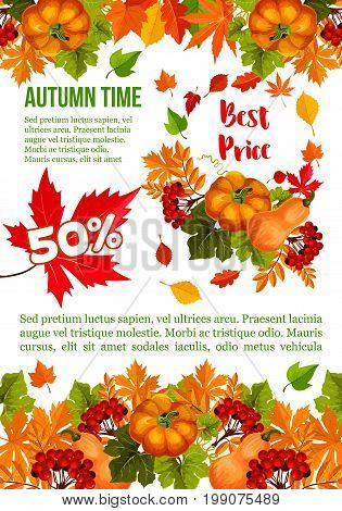 Autumn sale banner template for Thanksgiving Day special offer. Autumn harvest pumpkin vegetable, fall season leaf, maple tree foliage, rowanberry fruit branch for retail promotion poster design