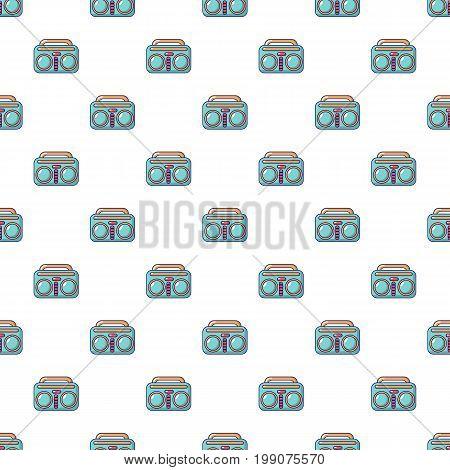 Vintage boombox pattern in cartoon style. Seamless pattern vector illustration
