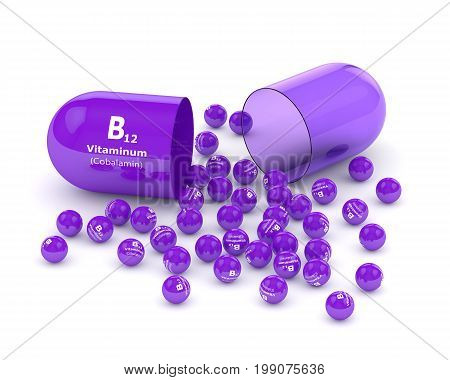 3D Rendering Vitamin B12 Pill With Granules Over White