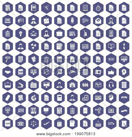 100 work paper icons set in purple hexagon isolated vector illustration