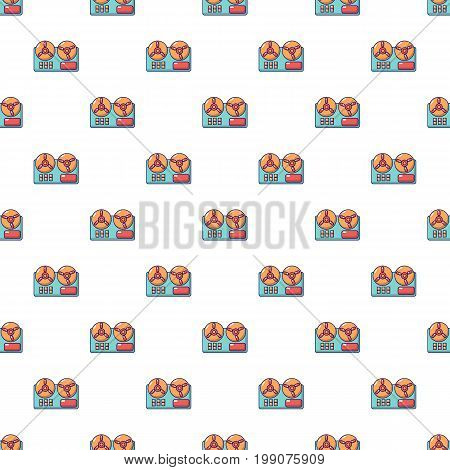 Reel to reel tape recorder pattern in cartoon style. Seamless pattern vector illustration