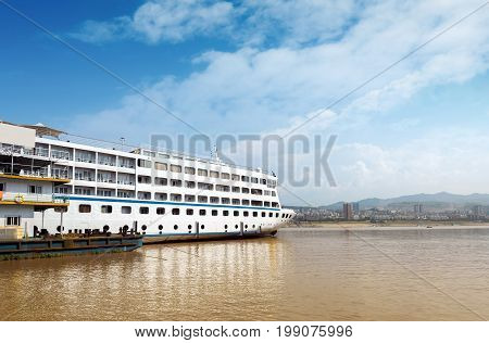 Cruise ships docked in the Yangtze River Three Gorges Chongqing China.