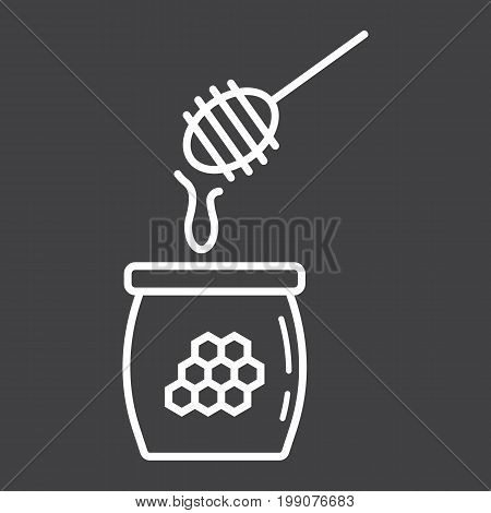 Honey ladle line icon, food and drink, beehive sign vector graphics, a linear pattern on a black background, eps 10.