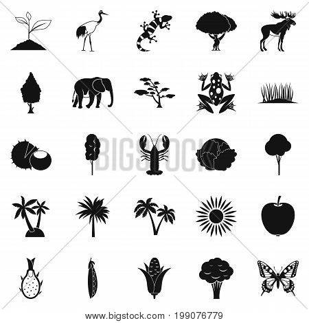 African wildlife icons set. Simple set of 25 african wildlife food vector icons for web isolated on white background
